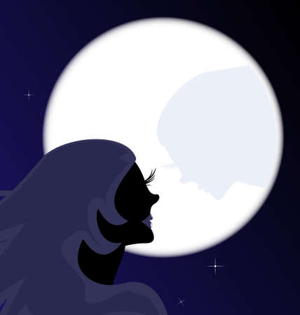 abstract black silhouette of girl and large moon with her shadow Vector