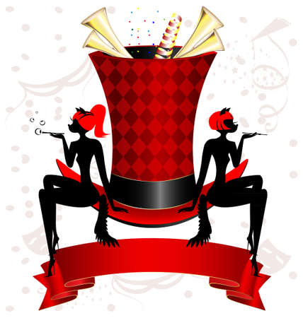 magic top-hat, red ribbon and two figures cat-girl Stock Vector - 21742824