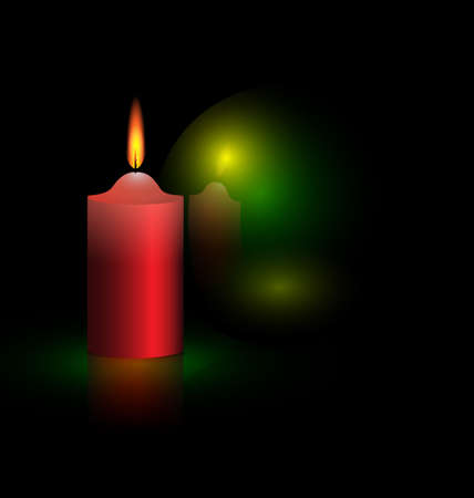 on a black background are burning candle and green ball
