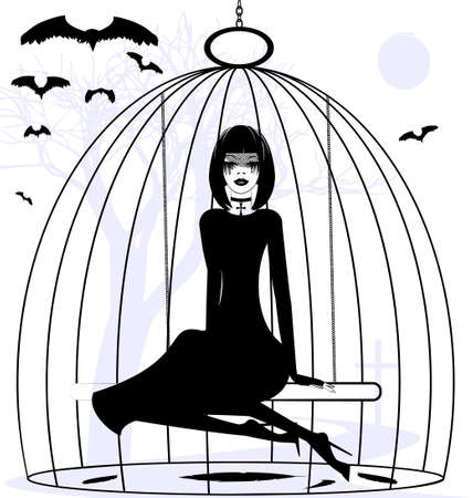 pent: black and white mystical fantasy: girl raven in a cage