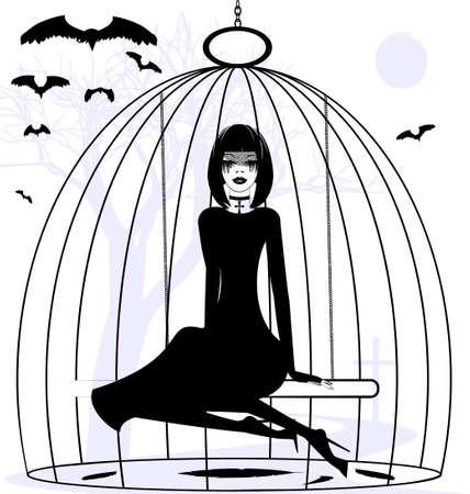soltería: blanco y negro fantasía mística: Chica cuervo en una jaula
