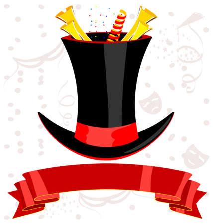 tophat: magic top-hat, nastro rosso e dorato Tucket