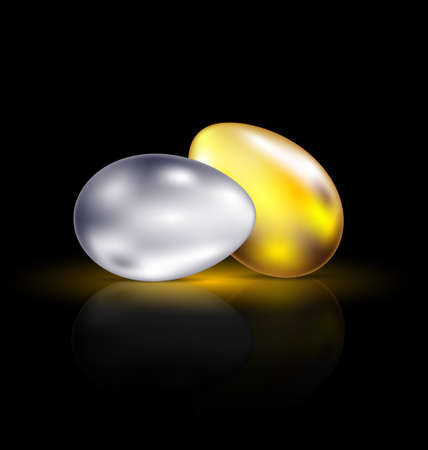 exceptional: on a dark background are gold and silver eggs