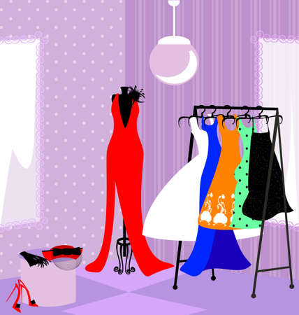 layman: in the abstract store dressing room with womens dresses Illustration