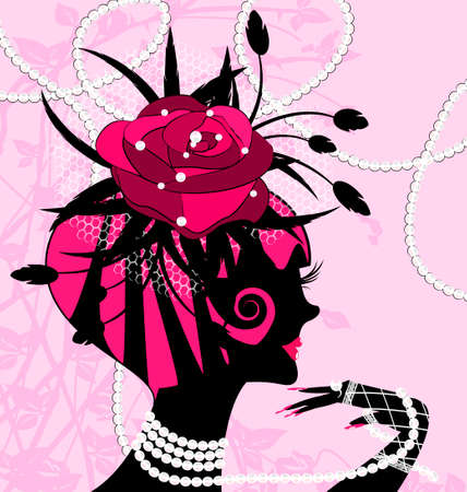 abstract black silhouette of pink girl and beads Vector