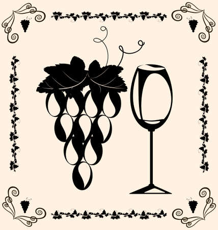 black grape: on beige background are vintage grapes and glass of wine