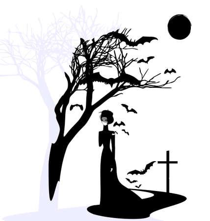 solitariness: black and white mystical fantasy  black gothic dame