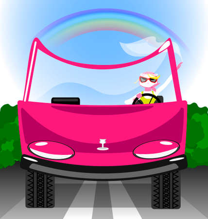 mode: in a funny pink car is cat-girl in relaxation