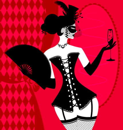 abstract carnival lady in a black corset  イラスト・ベクター素材