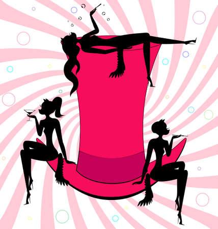tophat: rosa top-hat e trio di astratti cat-girls Vettoriali