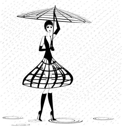 on an white background is stylish strange lady in the rain
