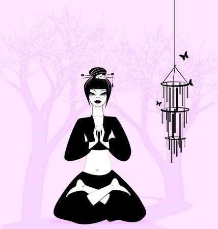 lady silhouette: girl in a yoga-relax on the background of flowering trees
