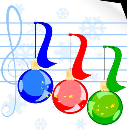 rounde: on a white sheet of music paper there are a three Christmas balls