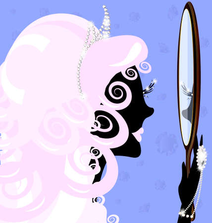 abstract black silhouette of pink-haired girl and large mirror