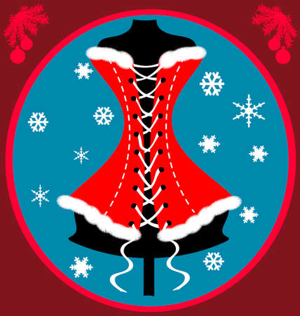 on a red-blue background there is a red-white festive corset