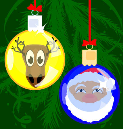 decoraded: on a green background there are two Christmas balls