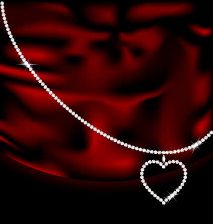 on a red silk there is a jewelry heart-pendant Vector