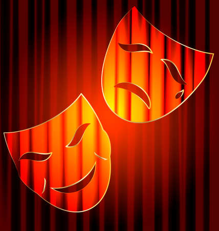 red theater curtain and abstract theatrical masks Vector