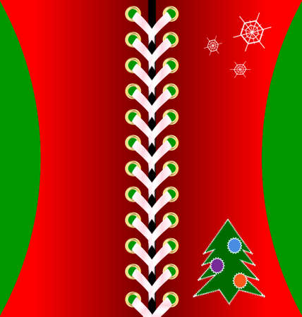 lacing: red Christmas lacing decoraded tree and snowflakes