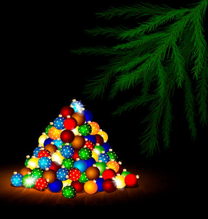 rounde: multicolored Christmas balls on the floor and branch of large tree Illustration