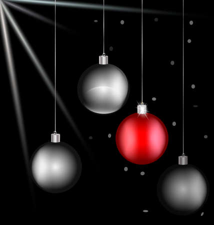 rounde: on black background there are black-white and red Christmas balls Illustration
