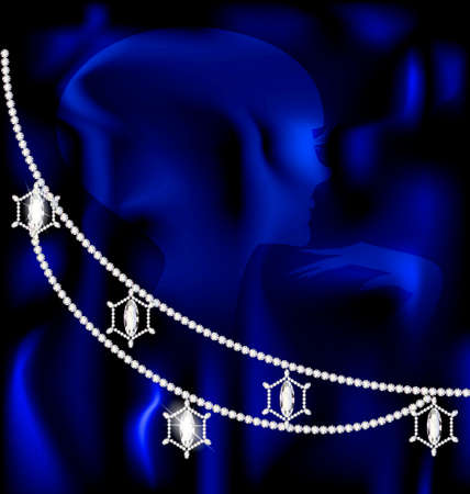 chainlet: on a blue silk there is a jewelry necklace Illustration