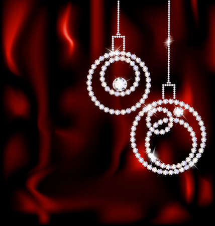 on a red silk there are two jewel Christmas balls Vector