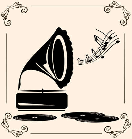 on beige background there are retro gramophone and records Çizim