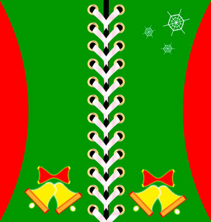 decoraded: green Christmas lacing decoraded bells and snowflakes