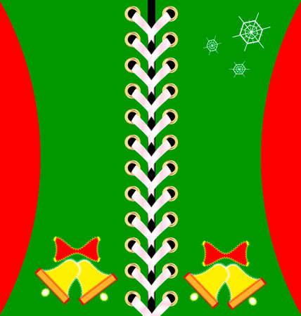 lacing: green Christmas lacing decoraded bells and snowflakes