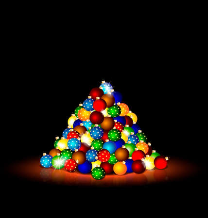 rounde: multicolored Christmas balls on the floor in the dark room