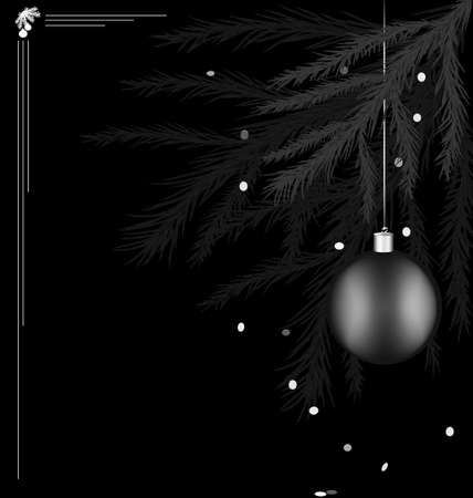 rounde: on black background there is black-white branch of Christmas tree