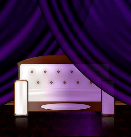 commodious: a large white sofa in the abstract purple room