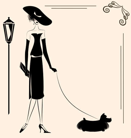 dog walking: a beige background and a lady with a dog