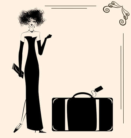 a beige background and a lady with a big suitcase Stock Vector - 25984170