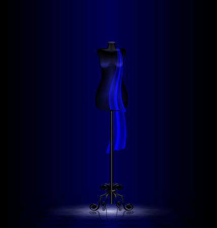 a dark empty room and a black dummy with a blue cravat Vectores