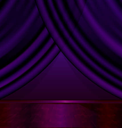 the abstract purple room with the violet drape