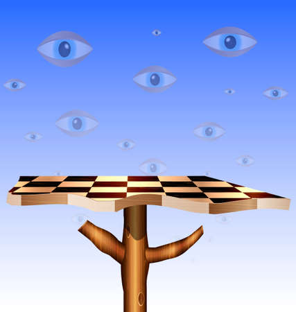 a sky-eyes and a abstract chess board-tree Vector
