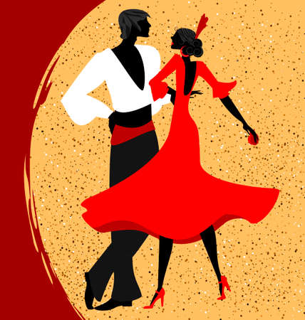 spanish girl: abstract red-beige background and couple of Spanish dancers