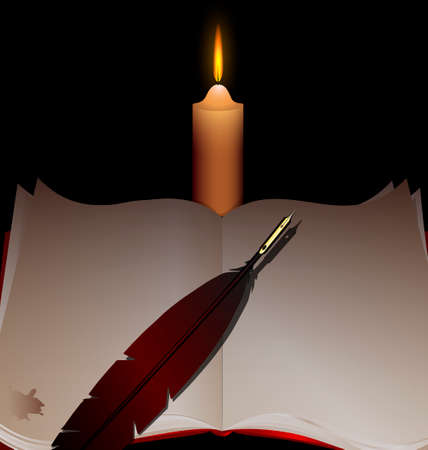 a big open book with a pen and a lighted candle Vector