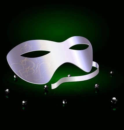 mummers: on an black-green background is a silver carnival half mask