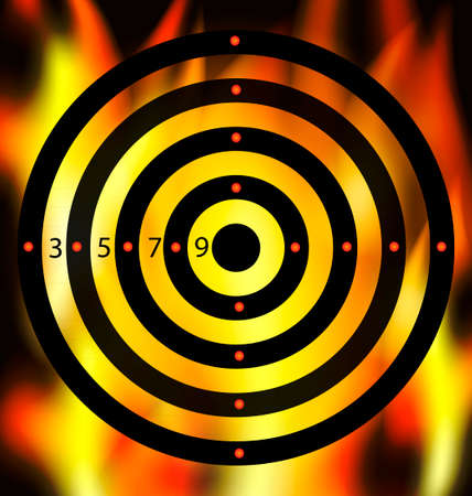 darkness and a abstract target in the fire Vector