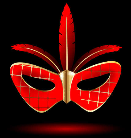 felicitate: a red-golden carnival half mask with red feathers Illustration