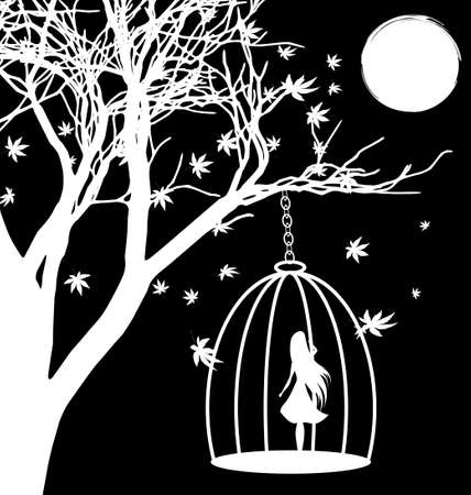 sad love: black and white fantasy: a tree, the moon and a girl in a cage