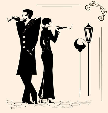 cigar smoking woman: retro man and woman are smoking in the street