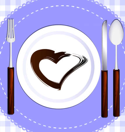 couple dining: dining unit: plate, fork, knife, spoon and napkin