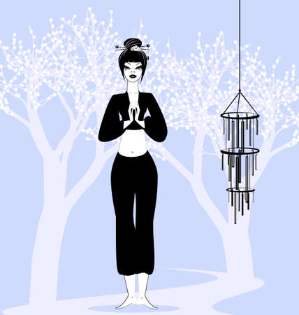 girl in a yoga and flowering trees Vector