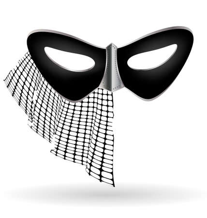 carnival black half mask decorated with half veil Vector