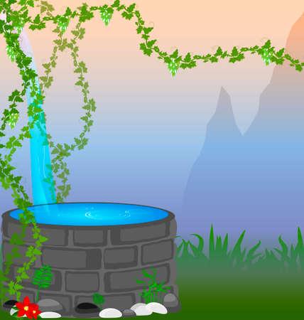 source d eau: montagne résumé, un cépage et une source Illustration
