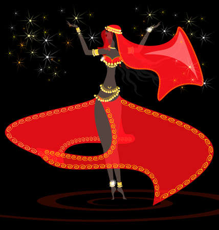 in a dark room dancing oriental girl in red dress Vector
